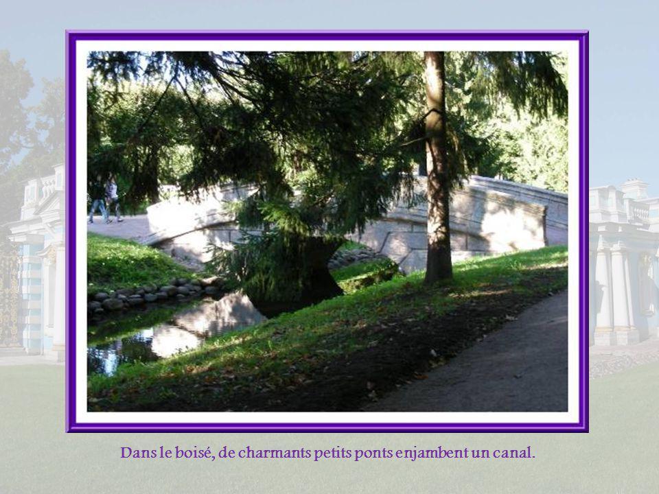 Dans le boisé, de charmants petits ponts enjambent un canal.