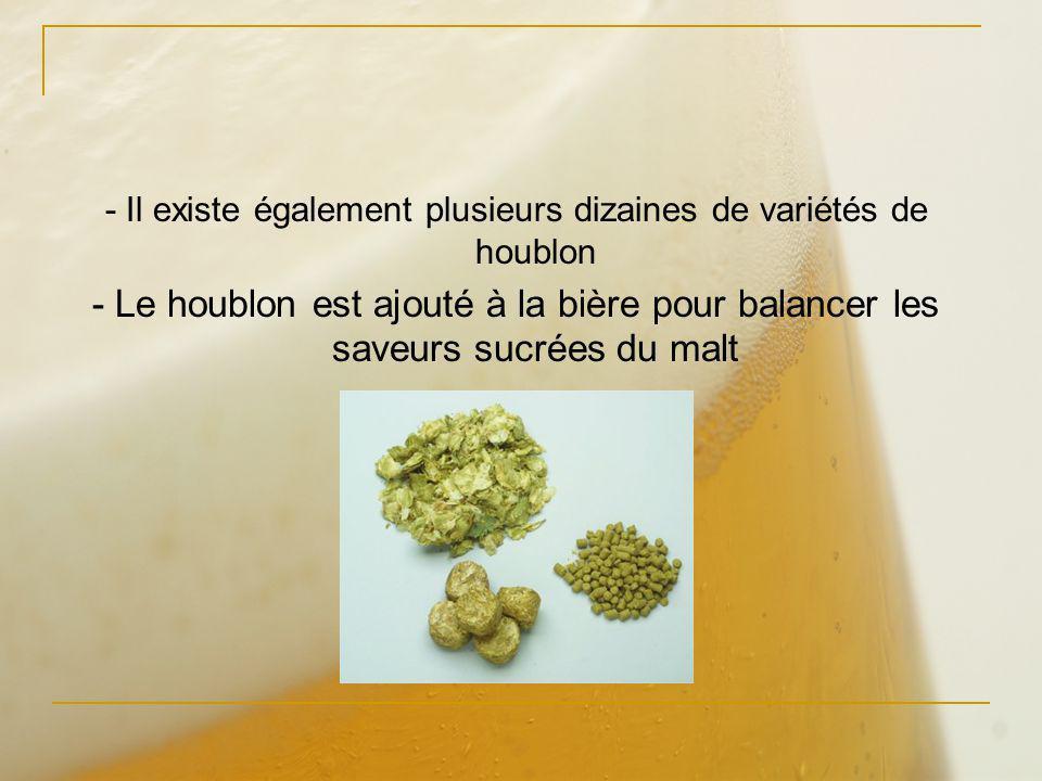 - Il existe également plusieurs dizaines de variétés de houblon