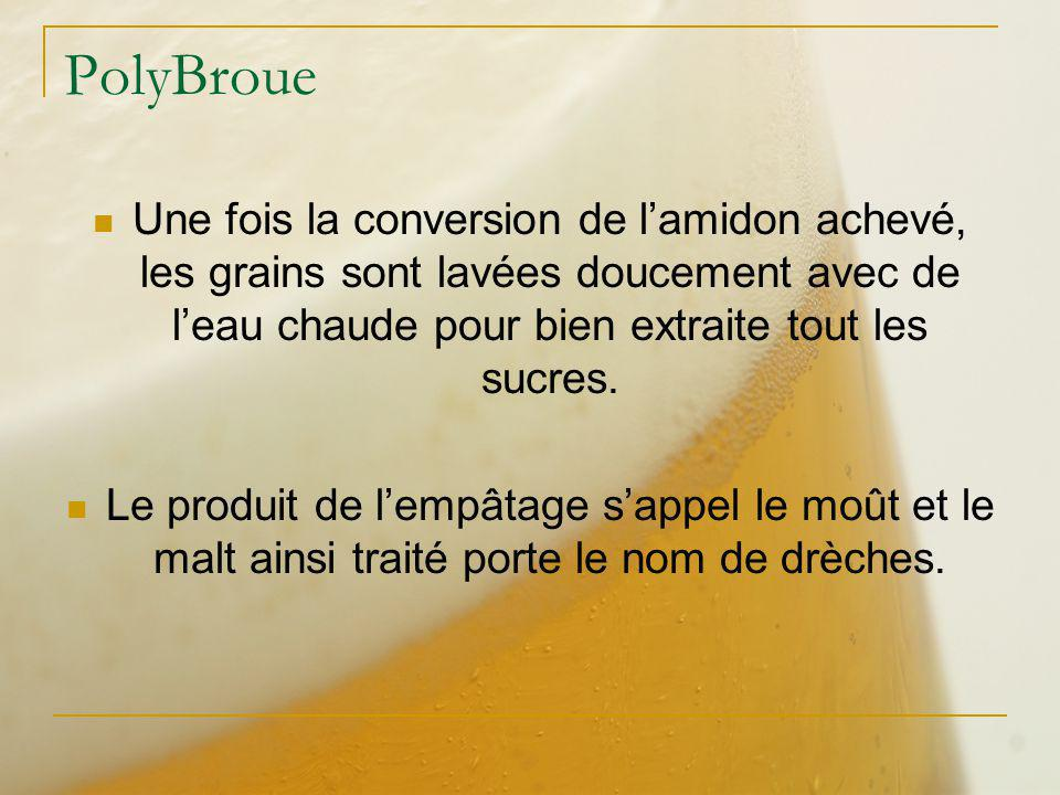 PolyBroue Une fois la conversion de l'amidon achevé, les grains sont lavées doucement avec de l'eau chaude pour bien extraite tout les sucres.