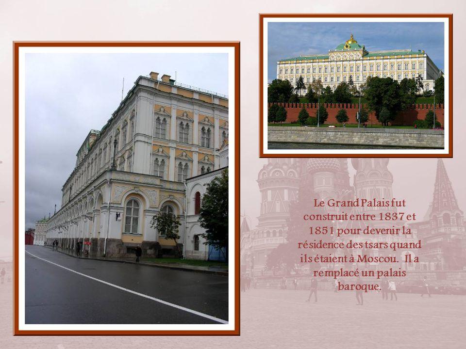 Le Grand Palais fut construit entre 1837 et 1851 pour devenir la résidence des tsars quand ils étaient à Moscou.