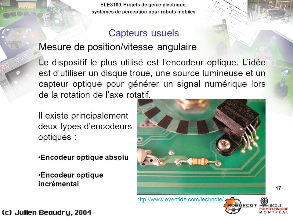 Mesure de position/vitesse angulaire