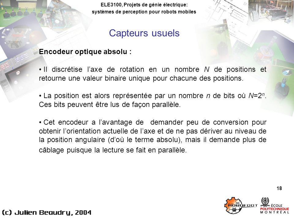 Capteurs usuels Encodeur optique absolu :