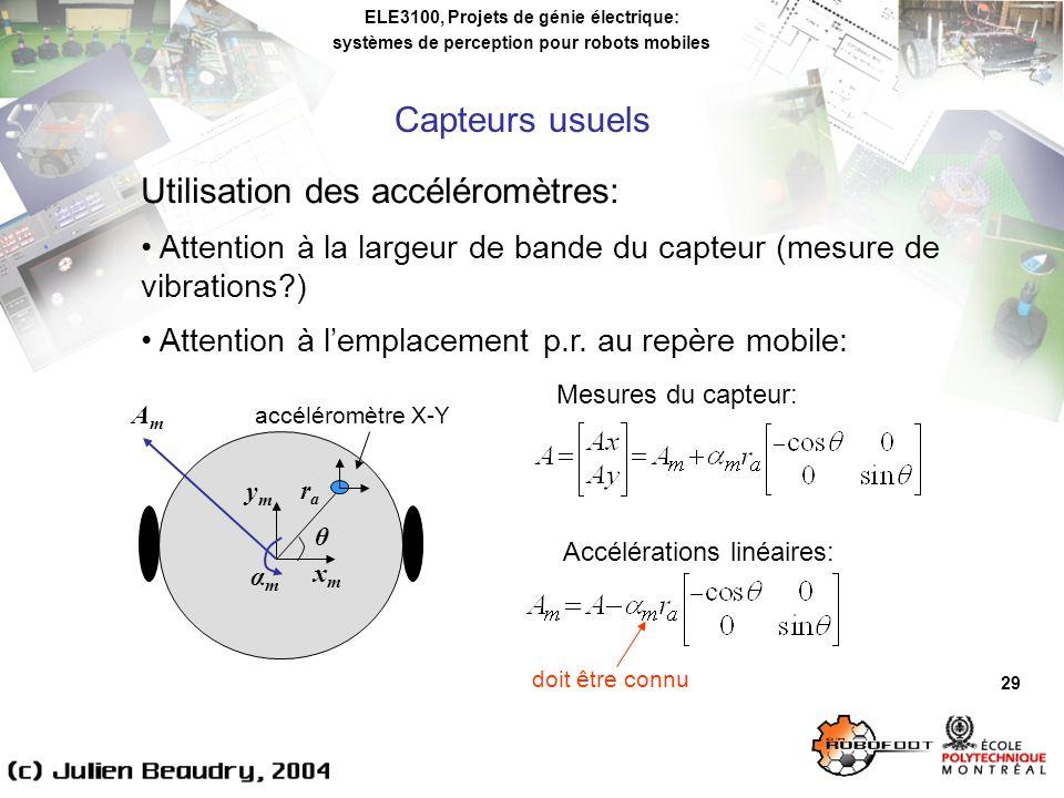Utilisation des accéléromètres: