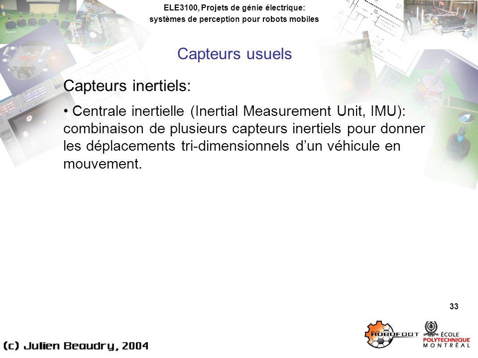 Capteurs usuels Capteurs inertiels: