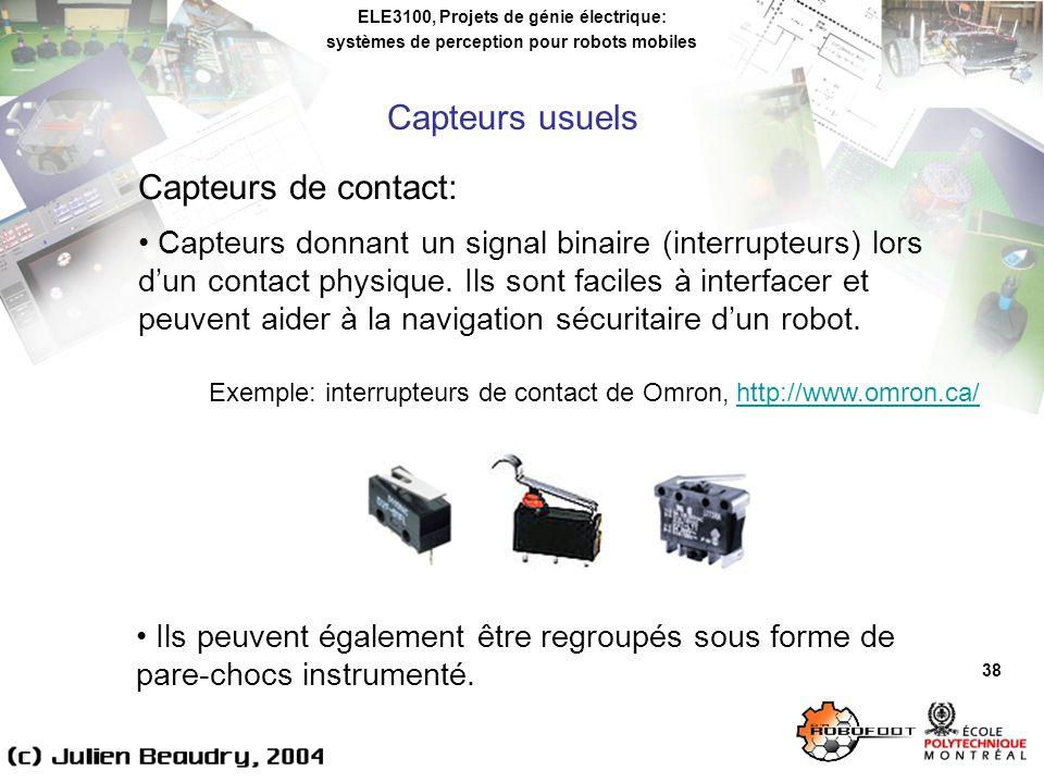 Capteurs usuels Capteurs de contact: