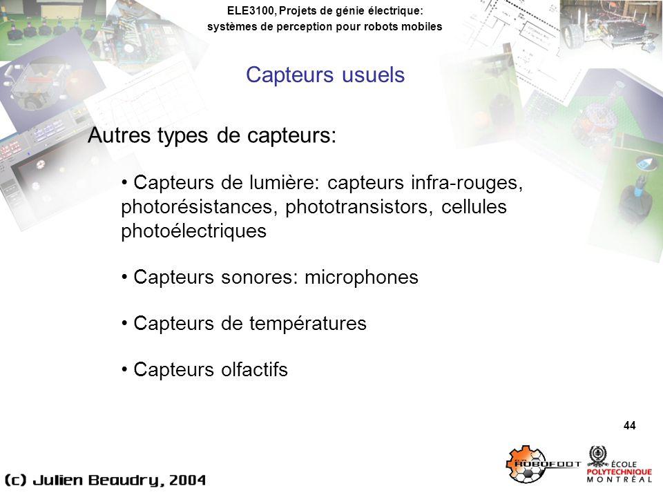 Autres types de capteurs: