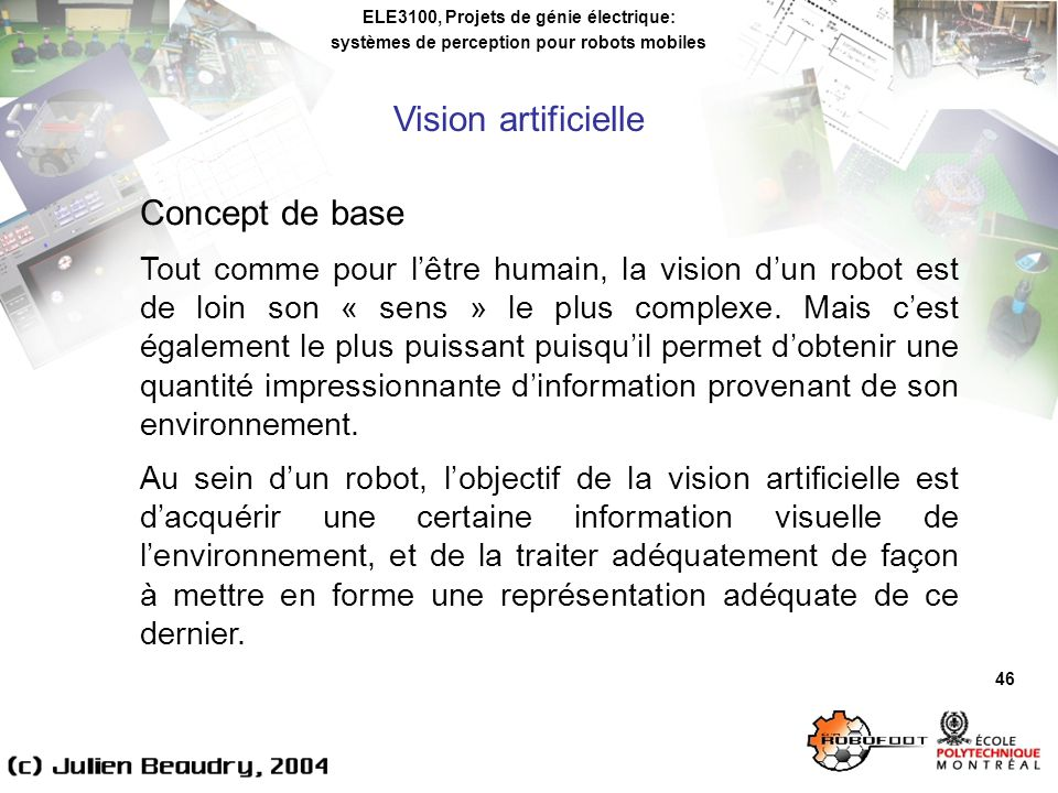 Vision artificielle Concept de base