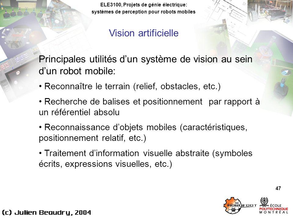 Principales utilités d'un système de vision au sein d'un robot mobile:
