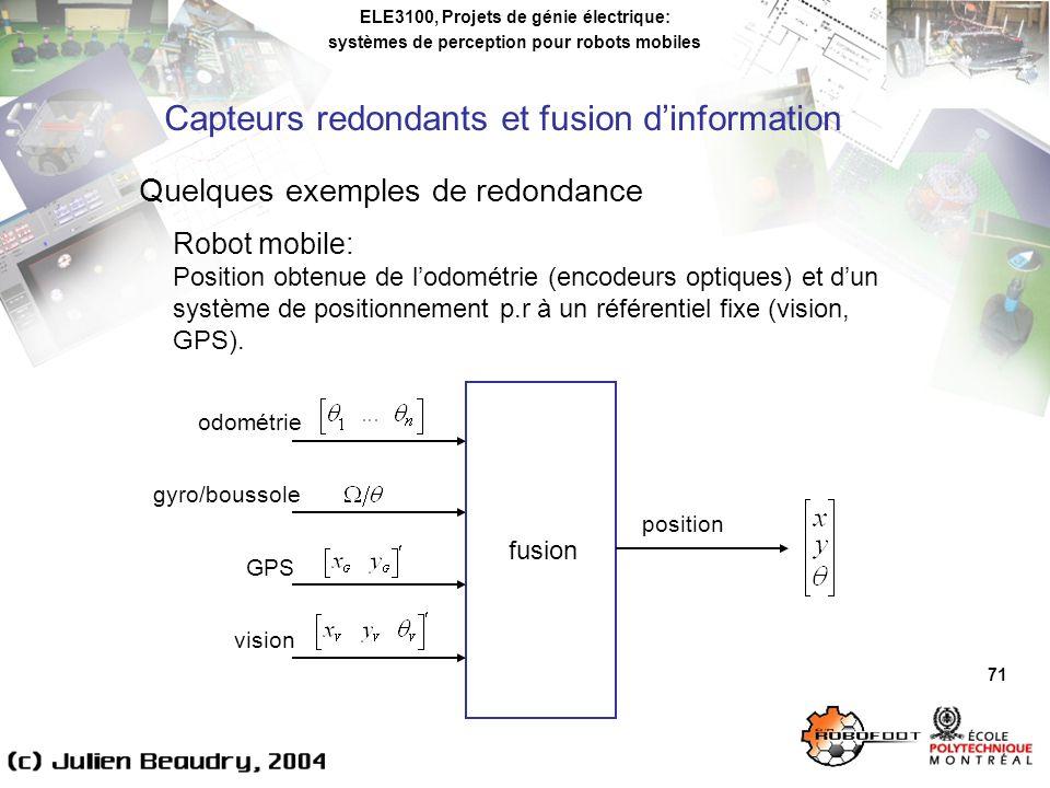 Capteurs redondants et fusion d'information