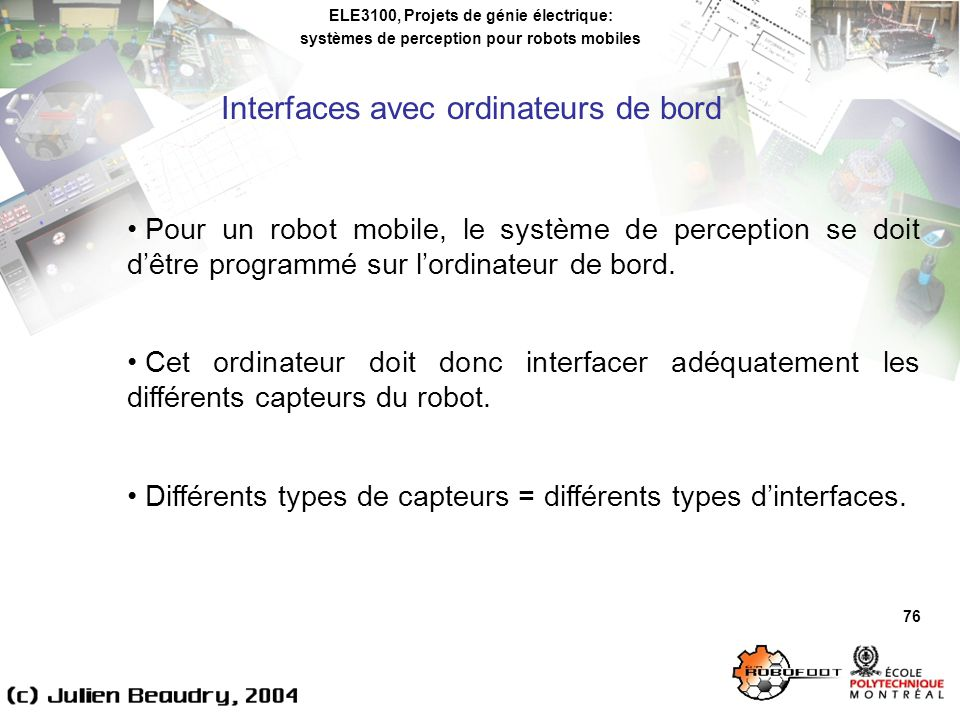 Interfaces avec ordinateurs de bord
