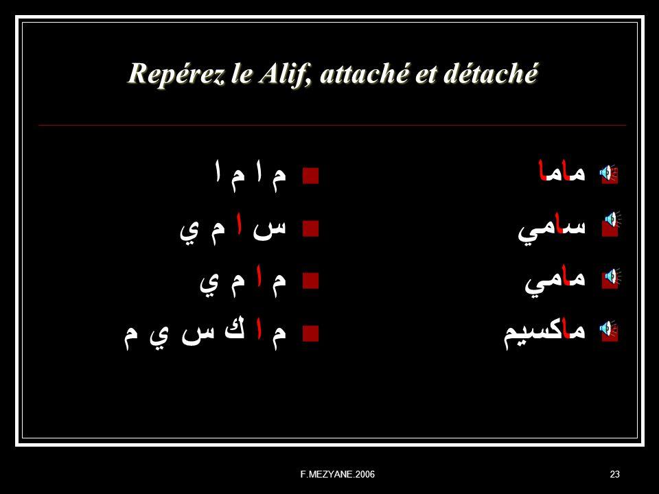 Repérez le Alif, attaché et détaché