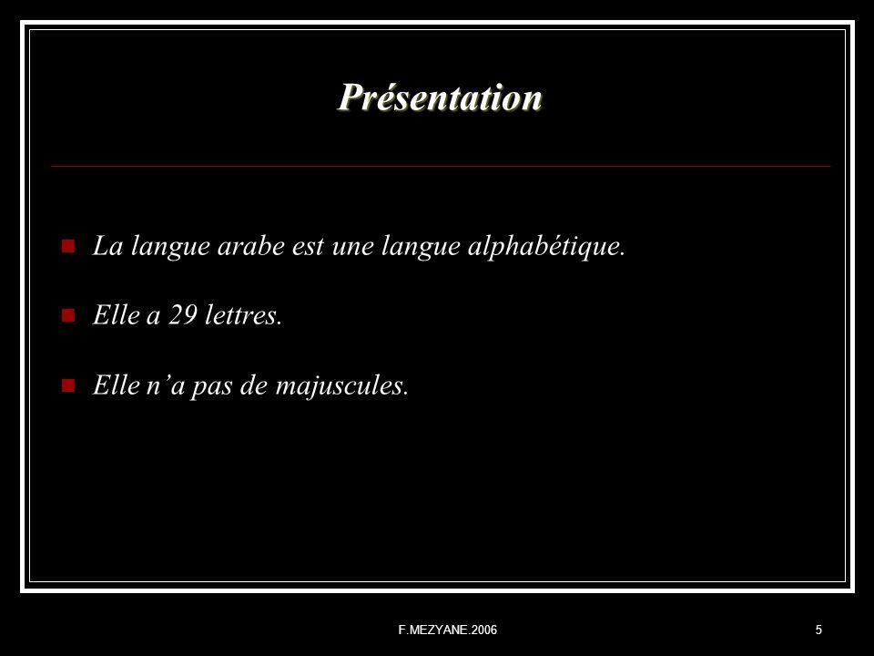 Présentation La langue arabe est une langue alphabétique.