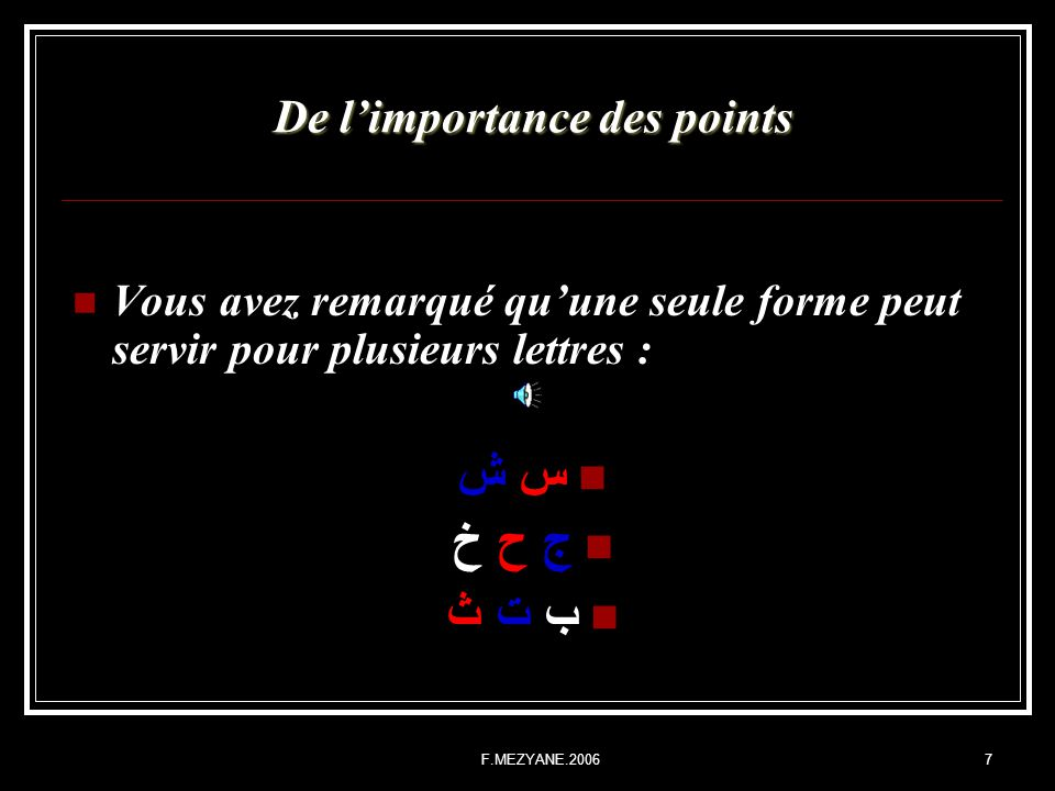 De l'importance des points