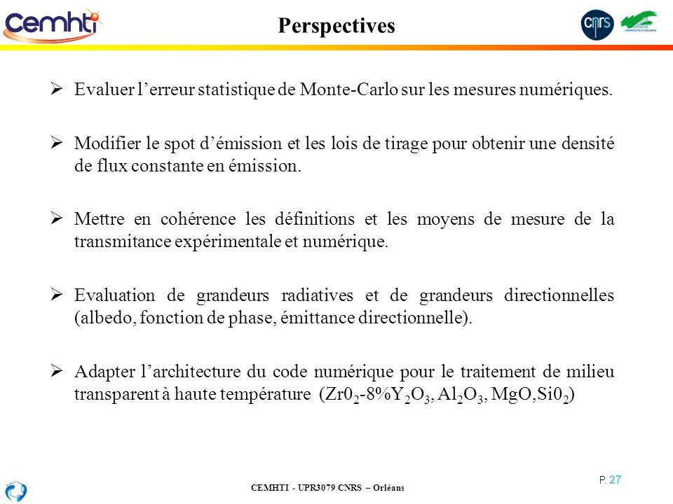 Perspectives Evaluer l'erreur statistique de Monte-Carlo sur les mesures numériques.