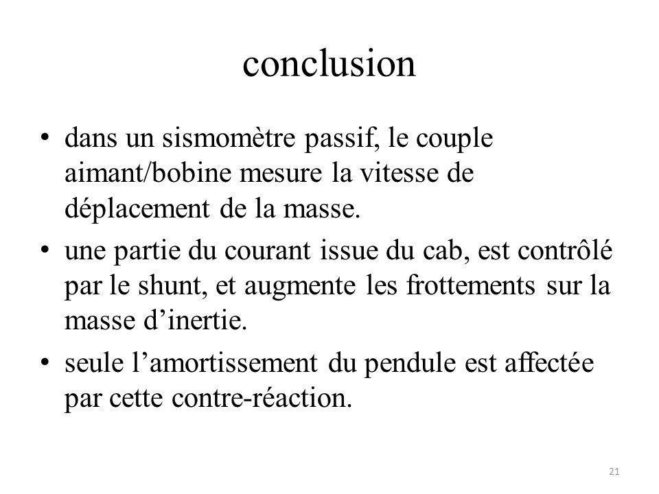 conclusion dans un sismomètre passif, le couple aimant/bobine mesure la vitesse de déplacement de la masse.