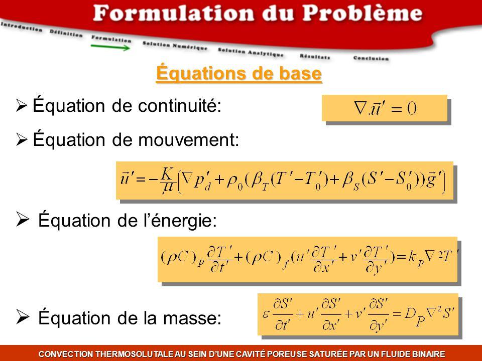 Équation de l'énergie: