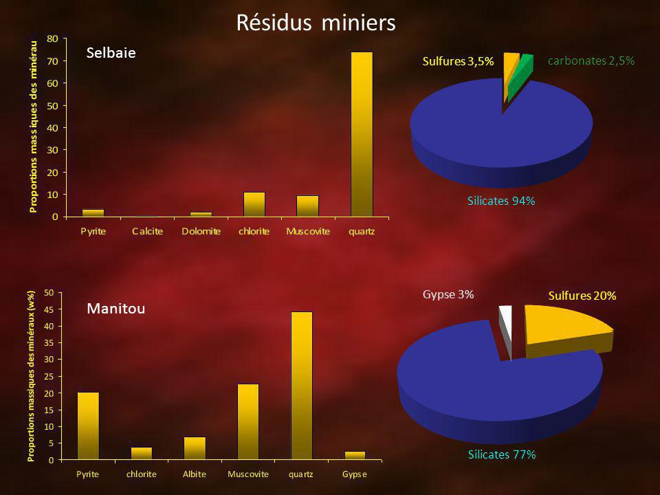 Résidus miniers Selbaie Manitou Sulfures 3,5% carbonates 2,5%