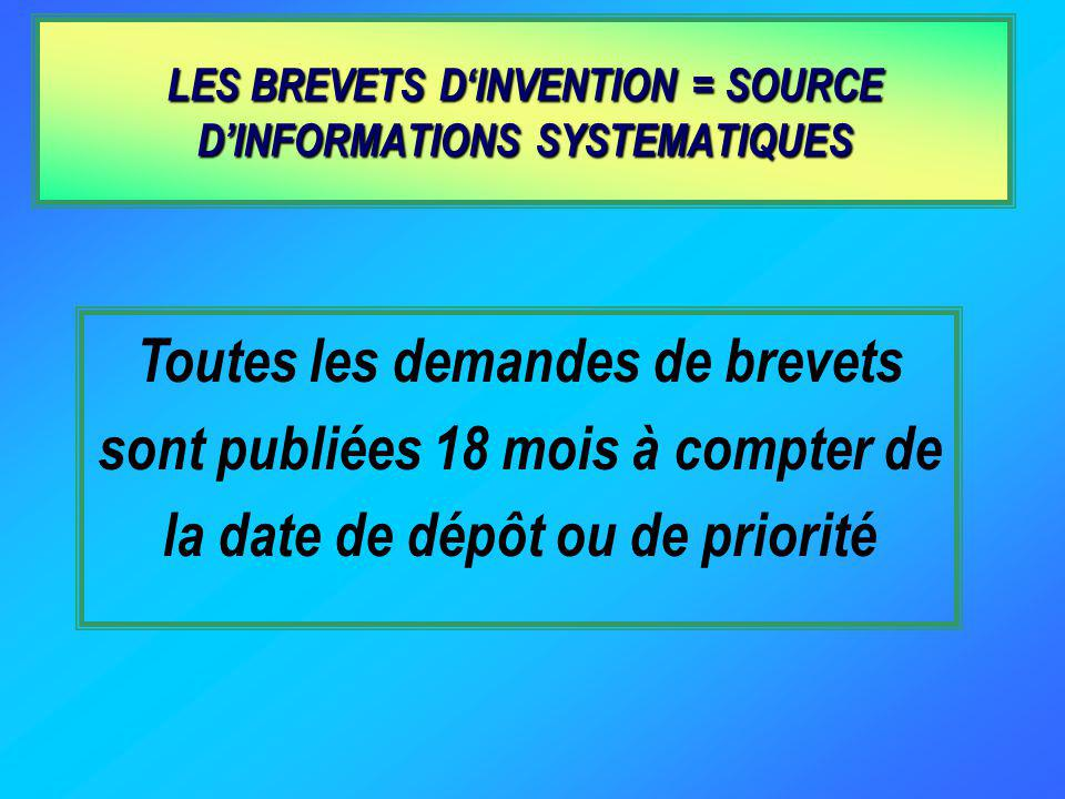 LES BREVETS D'INVENTION = SOURCE D'INFORMATIONS SYSTEMATIQUES