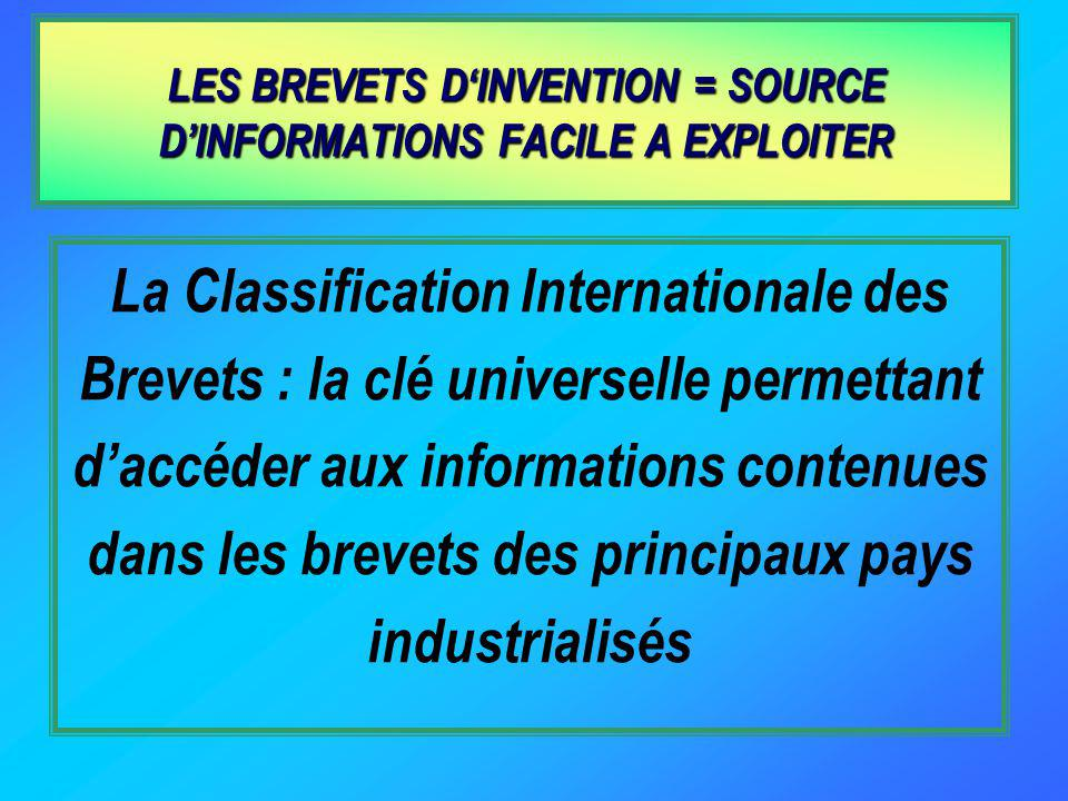 LES BREVETS D'INVENTION = SOURCE D'INFORMATIONS FACILE A EXPLOITER