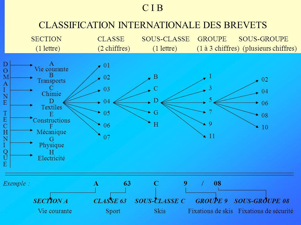 CLASSIFICATION INTERNATIONALE DES BREVETS
