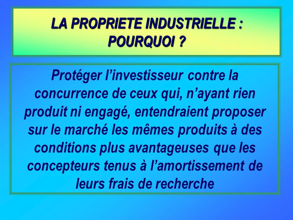 LA PROPRIETE INDUSTRIELLE : POURQUOI