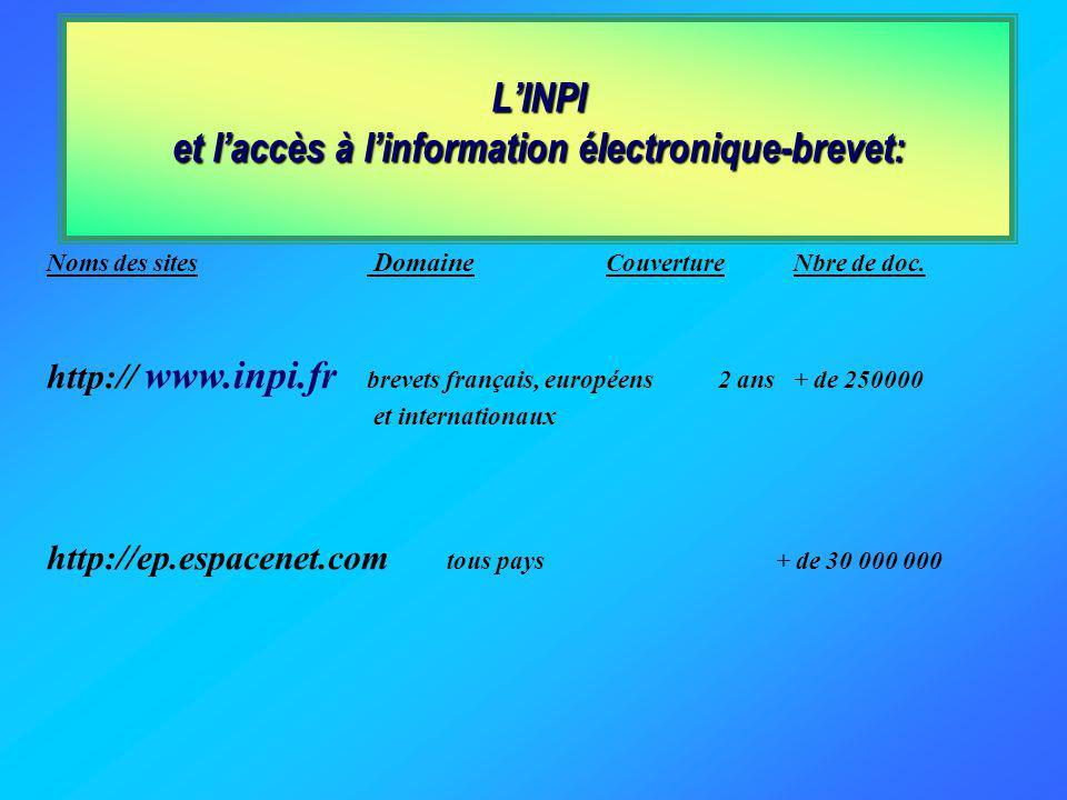 L'INPI et l'accès à l'information électronique-brevet: