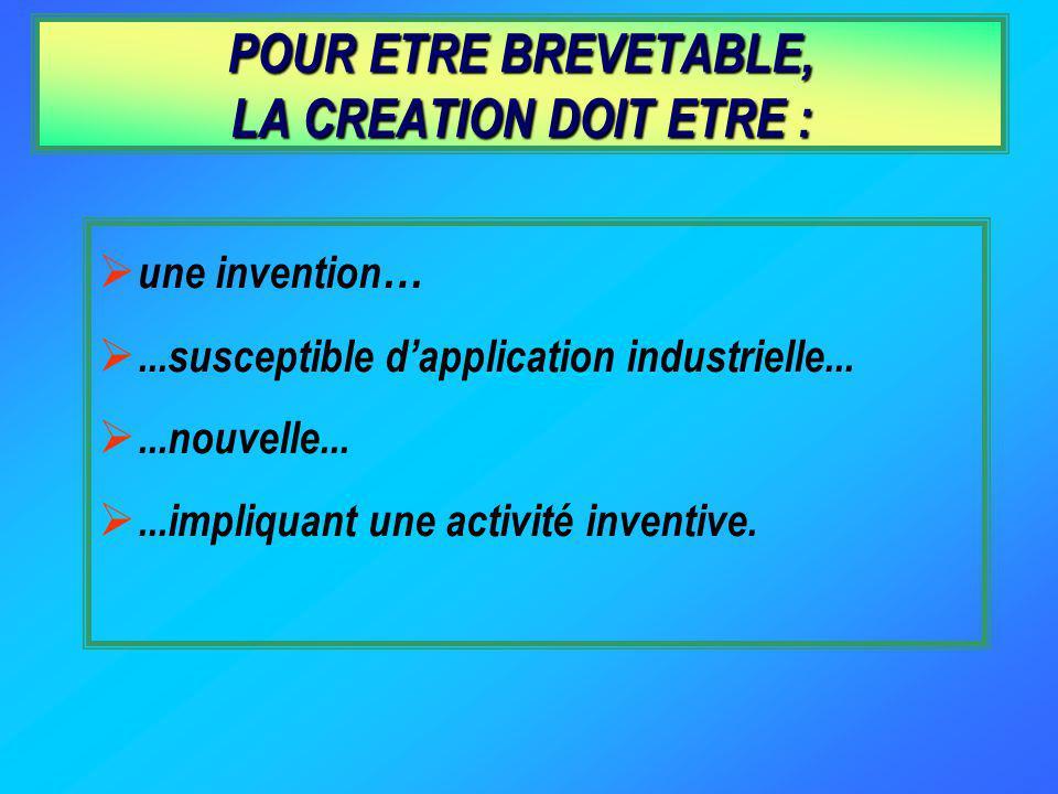 POUR ETRE BREVETABLE, LA CREATION DOIT ETRE :