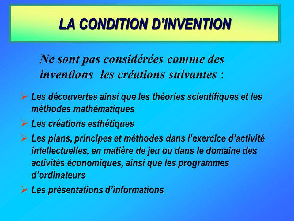 LA CONDITION D'INVENTION