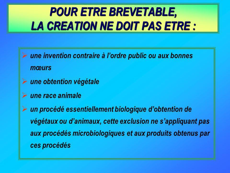 POUR ETRE BREVETABLE, LA CREATION NE DOIT PAS ETRE :