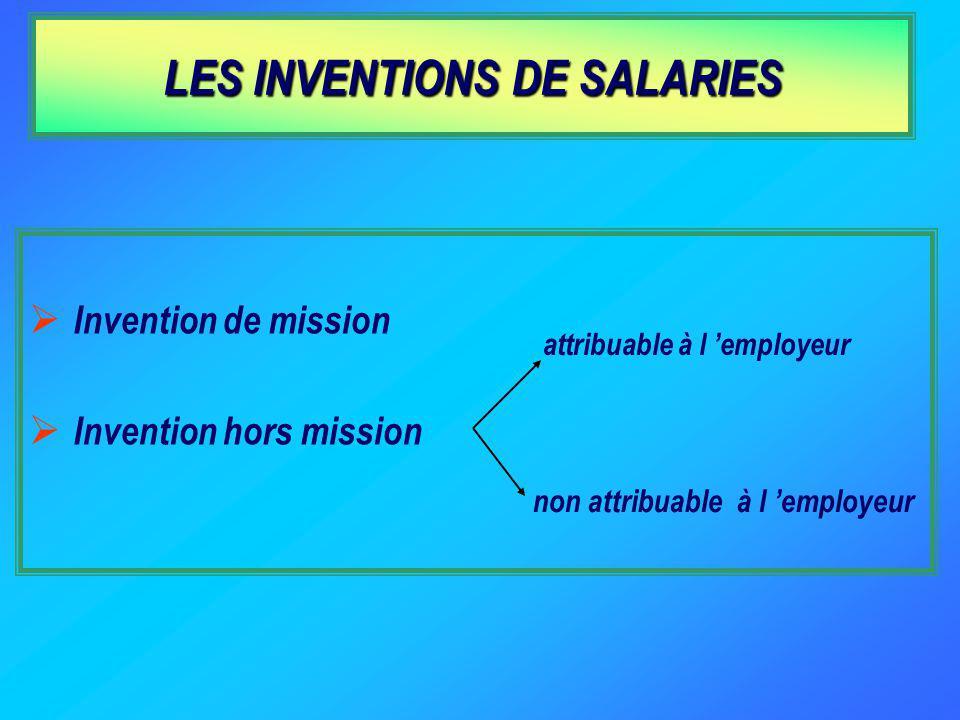 LES INVENTIONS DE SALARIES