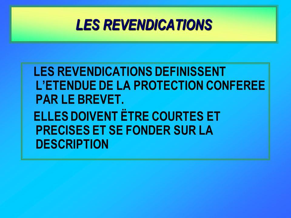LES REVENDICATIONS LES REVENDICATIONS DEFINISSENT L'ETENDUE DE LA PROTECTION CONFEREE PAR LE BREVET.