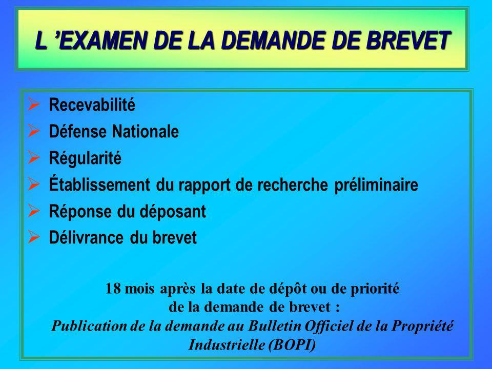 L 'EXAMEN DE LA DEMANDE DE BREVET