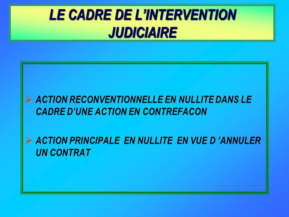LE CADRE DE L'INTERVENTION JUDICIAIRE