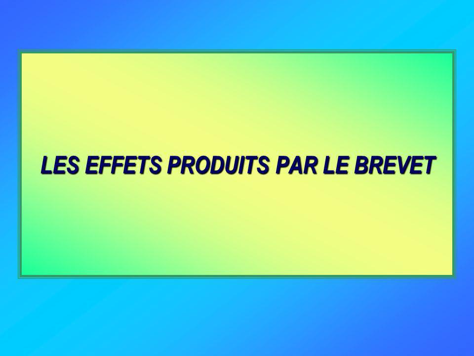 LES EFFETS PRODUITS PAR LE BREVET