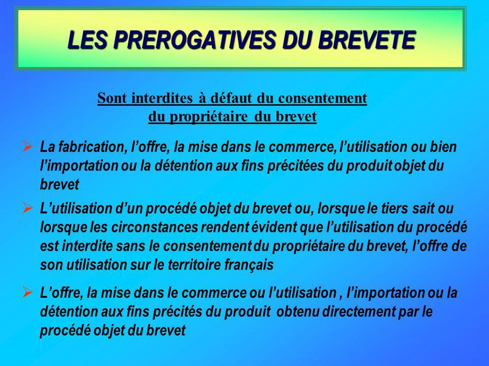 LES PREROGATIVES DU BREVETE