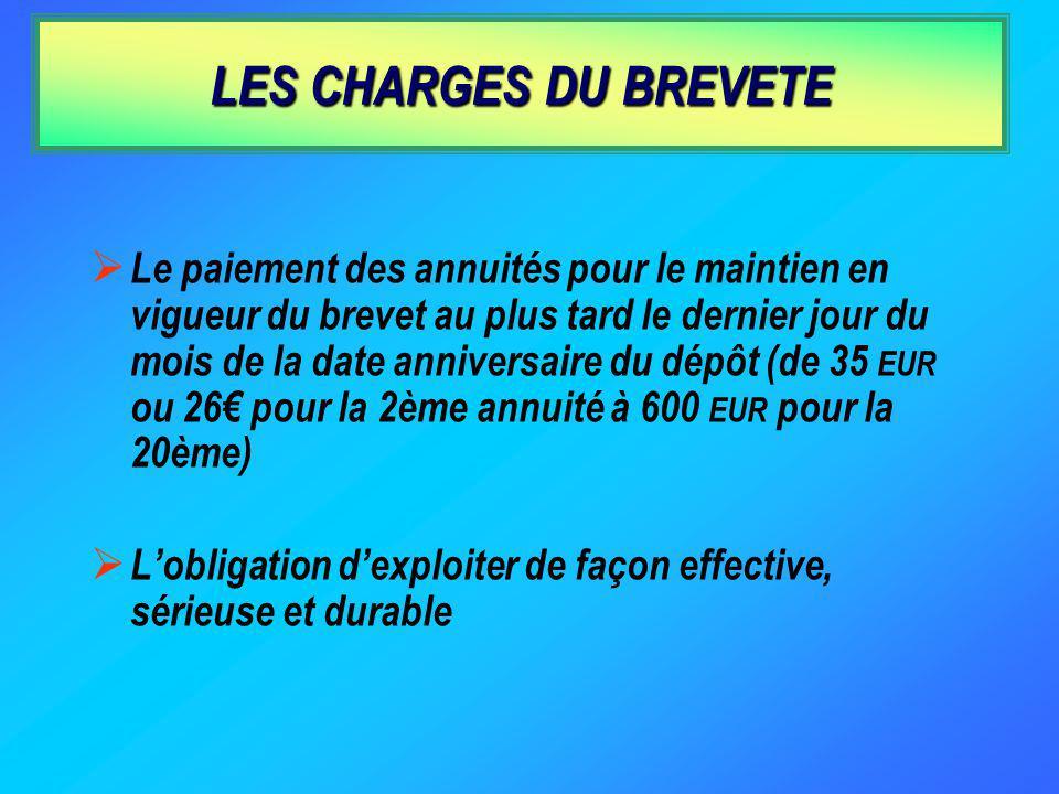 LES CHARGES DU BREVETE