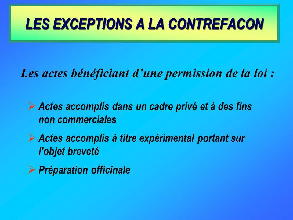 LES EXCEPTIONS A LA CONTREFACON