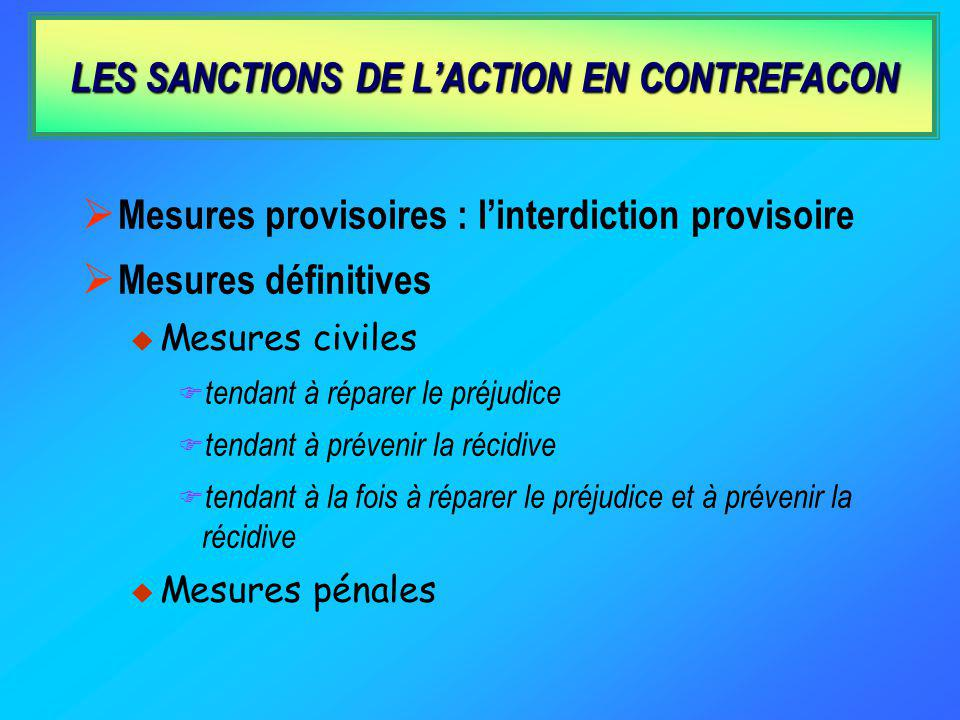 LES SANCTIONS DE L'ACTION EN CONTREFACON