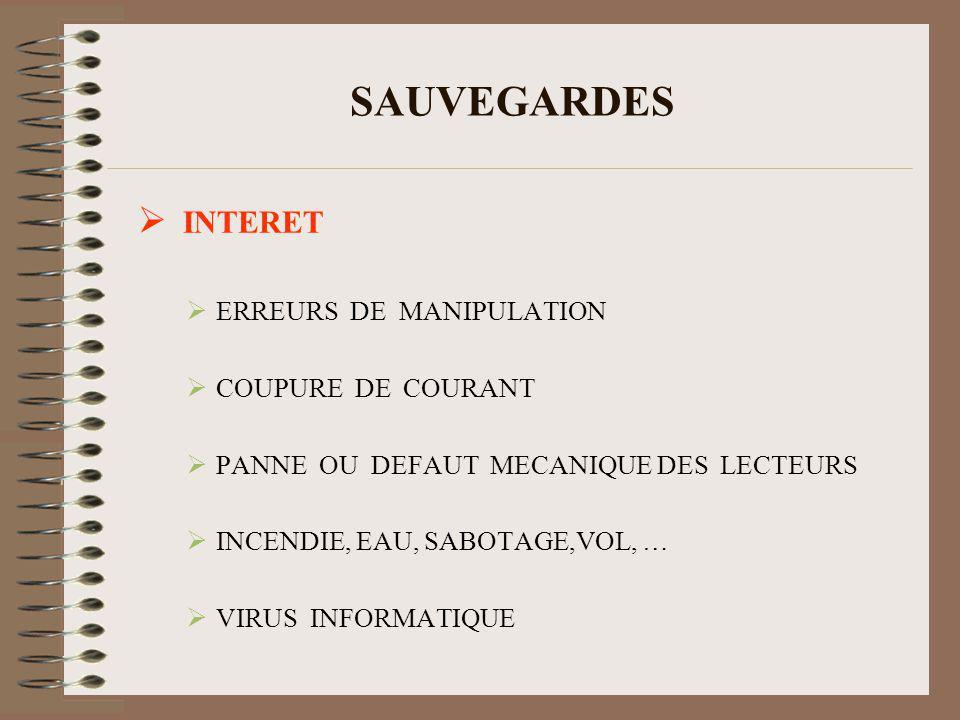 SAUVEGARDES INTERET ERREURS DE MANIPULATION COUPURE DE COURANT