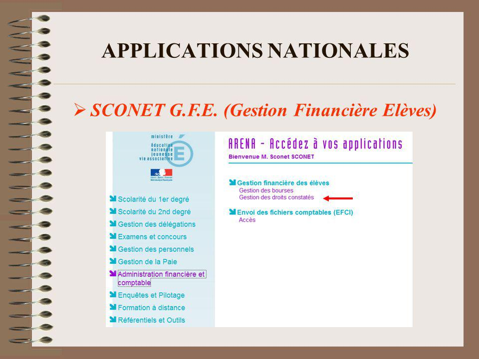 APPLICATIONS NATIONALES