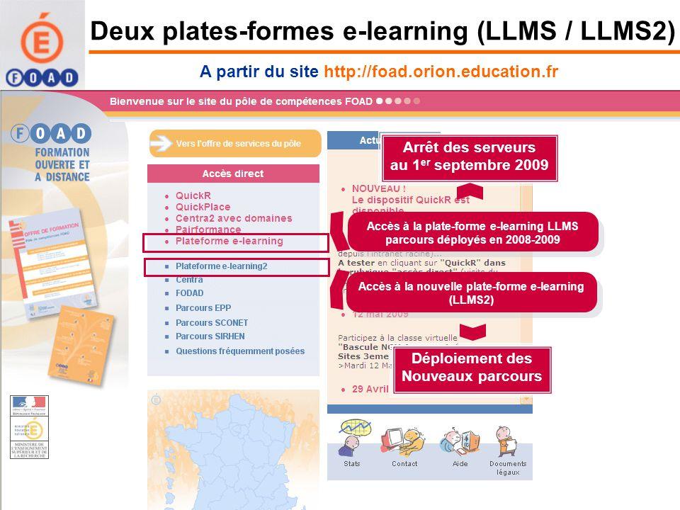 Deux plates-formes e-learning (LLMS / LLMS2)