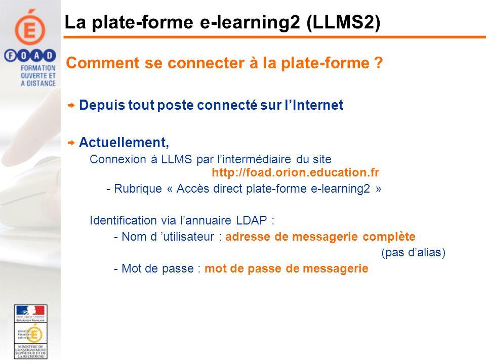 La plate-forme e-learning2 (LLMS2)