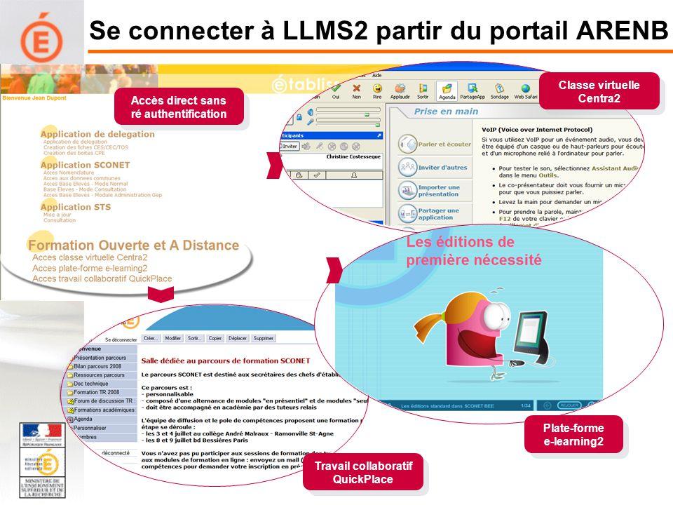Se connecter à LLMS2 partir du portail ARENB