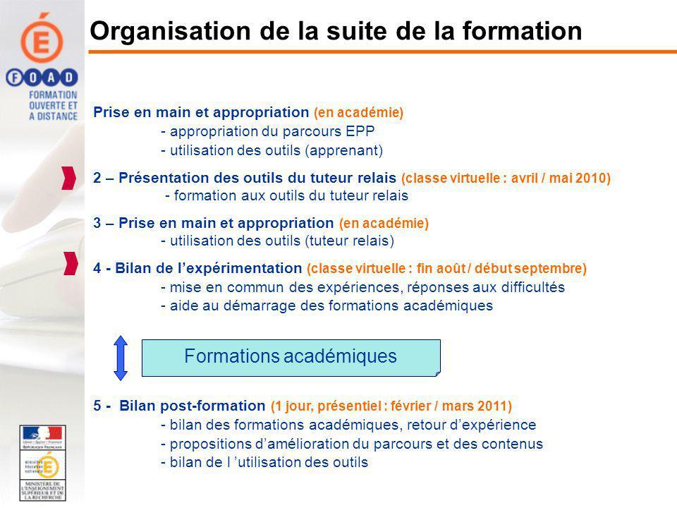 Organisation de la suite de la formation