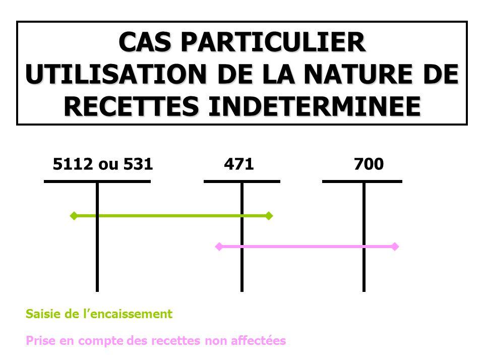 CAS PARTICULIER UTILISATION DE LA NATURE DE RECETTES INDETERMINEE