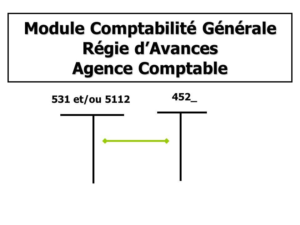 Module Comptabilité Générale Régie d'Avances Agence Comptable