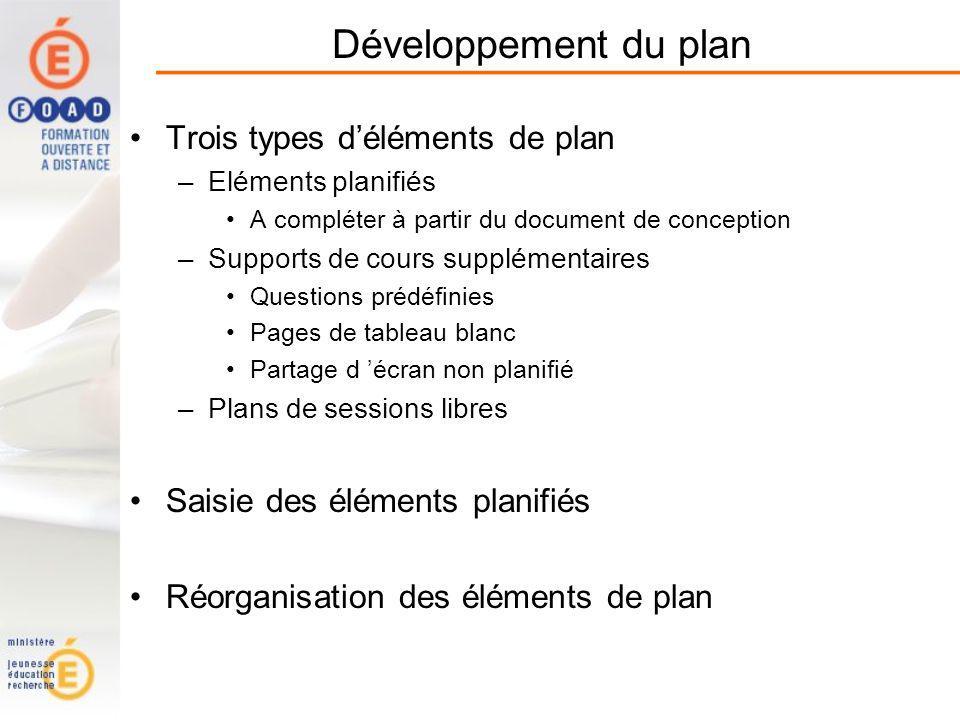 Développement du plan Trois types d'éléments de plan