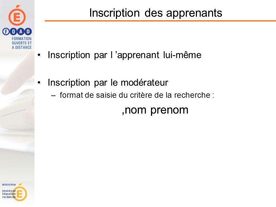 Inscription des apprenants