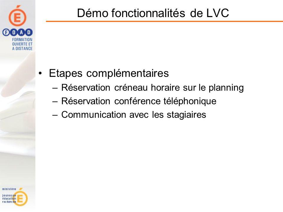 Démo fonctionnalités de LVC