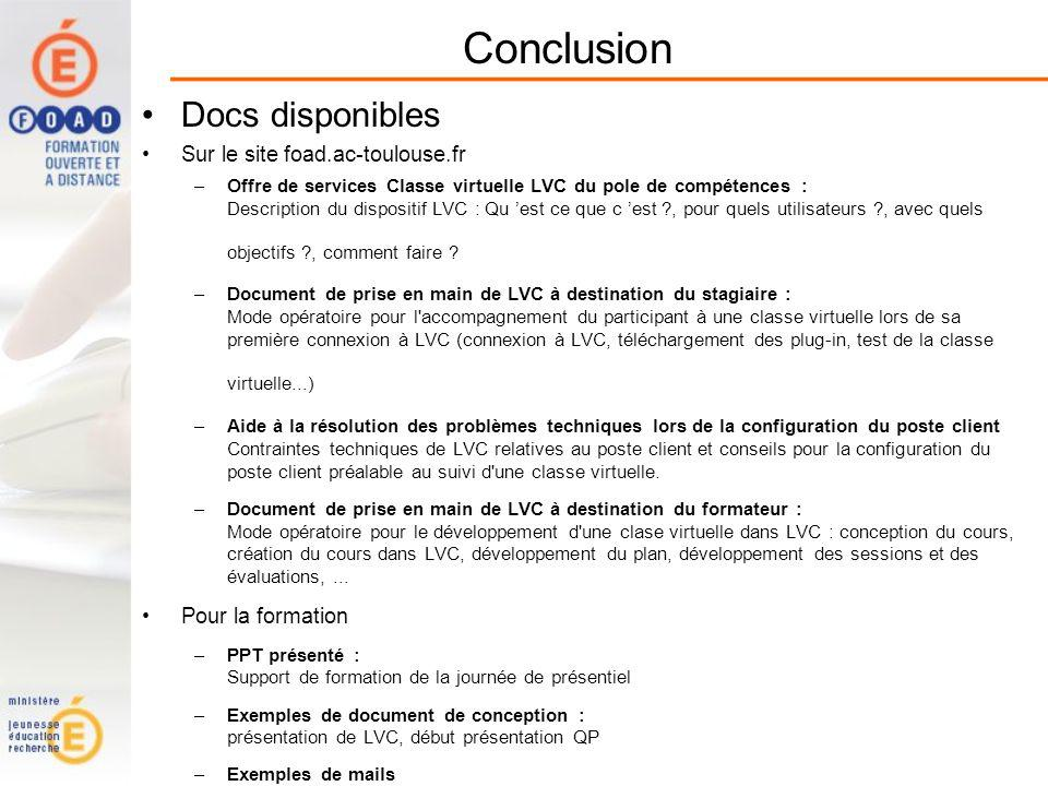 Conclusion Docs disponibles Sur le site foad.ac-toulouse.fr